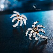 18k white gold filled made with SWAROVSKI CZ crystal palm tree earrings stud