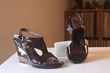 Sofft 1232810 Brown Copper Patent Leather 4 Inch Wedge Sandals Size 7.5 Medium