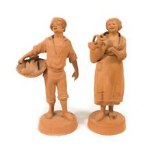 """Lot of 2 Vintage Terracotta Catania Italy Detailed Figures Pottery 5.25"""""""