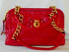Vintage Marc Jacobs Quiled Red Leather Double Gold Chain Triple Sections Handbag