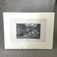 1859 Antique Religious Print Engraving The Death of Able Cain
