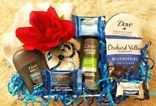 Men Boyfriend Dove Bath Body Spa Ghirardelli Blueberries Chocolate Gift Basket