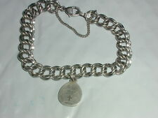 RETIRED JAMES AVERY HEAVY STERLING DOUBLE CURB CHARM BRACELET W/ 1 CHARM!