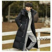 Winter Men's Hooded Overcoats Cotton Padded Over knee Long Quilted Jackets Plain