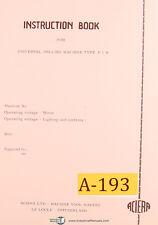 Aciera Type F1H, Milling Machine, Instruction Parts and Maintenance Manual