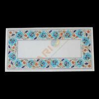 """12""""x18"""" White Marble Coffee Table Top Turquoise Floral Inlay Designer Decor W622"""