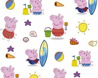 100% Craft Cotton Fabric Little Johnny Peppa Pig  George Beach Day 150cm Wide