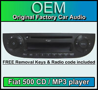 Fiat 500 CD MP3 player, Fiat 500 car stereo Black colour with radio code & keys