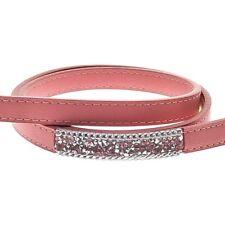 Correa perro cuero rosa piel 1,5 x 120 cm brilli brilli brillo brillantes
