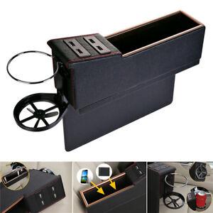 PU Leather Car Main Driver Seat Gap Case/Organizer/Storage Box w/ 4 USB Charger