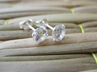 Real 925 Sterling Silver Cubic Zirconia White Stud Earrings Round Shape Matt 6MM