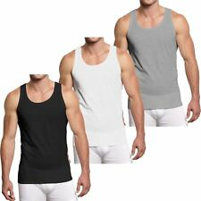 3 & 6 Men Muscle Vest Slim Fit Summer Gym Training Tank Tops Sleeveless Cotton Black Grey White Pack of 3 L
