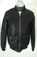 NEW LOOK BLACK LEATHER LOOK JACKET BOMBER UK 8