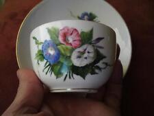 19thc ANTICO ROYAL COPENHAGEN PORCELLANA Coppa & Piattino dipinta a mano fiori Sassone