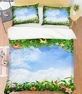 3D Sky Flower NAO9278 Bed Pillowcases Quilt Duvet Cover Set Queen King Fay