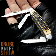 ELK RIDGE GENTLEMAN'S FOLDING KNIFE Simulated Bone Satin Pocket Blade STOCKMAN