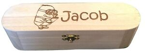 PERSONALISED Engraved Kids Wooden Stationary Storage Box Pencil Paint Brush Case