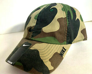 NEW! RARE NIKE Adult Unisex Heritage86 Adjustable Hat/Cap-Camo/Black 20465483