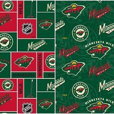 NHL Hockey Minnesota Wild Small Scale Box Tone on Tone Cotton Fabric BY 1/2 YARD