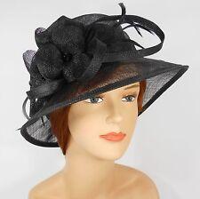 New Woman Church Derby Wedding Party Sinamay Dress Hat 7045 Black