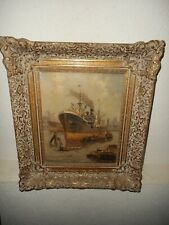 Antique oil painting,{ Harbor scene with lots activity, signed, great frame }.