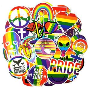 "~*~50 x Random Gay Pride Rainbow Colour Stickers Mixed Decals ""AUSSIE SELLER""~*~"