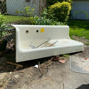 1920s Cast Iron Corner Sink w/ Washboard