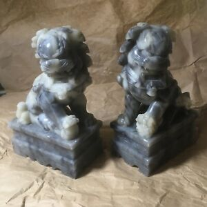 PAIR OF CHINESE FINE CARVED SOAPSTONE FOO DOG BOOKENDS