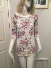 Atmosphere - White,Floral C-Neck 3/4 Sleeved Mini Length Acrylic Dress Jumper 8