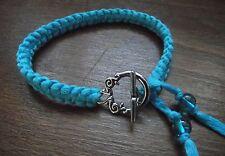 Bracelet noué bleu turquoise Fermoir  Celtique * Cadeau Petit Prix * Fait Main