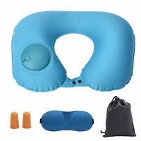 Premium Inflatable Air Travel Pillow Airplane Neck Pillow Set + Masks & Earplugs