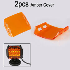 2x Amber Lens Cover for 4'' 18W CREE LED Work Light Fog Lamp Offroad Jeep Trucks