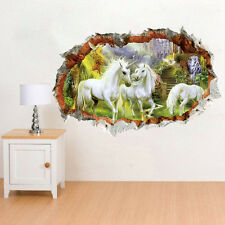 DIY 3D White Horse Broken Wall Effect Stickers Decal Mural Art Living Room Decor