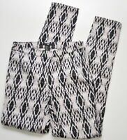 H&M Size 4 Women's Black White Printed side zip ankle slim pant New