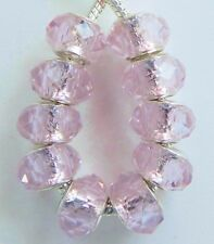 10 Pink Faceted Beautiful Glass Beads European Style 9 * 14 mm & 5 mm Hole B024