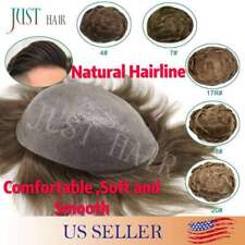 Invisible Mens Toupee Ultra Thin Skin Poly Hairpieces PU Wigs Remy Hair Systems