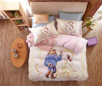 Beauty and the Beast Disney Cartoon 3D Printed Bedding Set for Girls Bedroom Dec