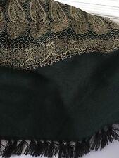 Women's MUMTAZ SHAWLS Scarf by HBS Gold & Emerald Green LG Fringed Trim 2-sided