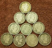 ( Lot of 10 ) Some  Rarer Dates  BARBER Halfs In F+/VF  Condition,  90% Silver