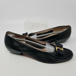Salvatore Ferragamo Black Leather Gold Bit Flats Slip On  Shoes Women Size 9 B
