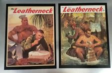 1944 & 1945 Leatherneck SMALL Cover Prints- Gay Bear- Nude Marines SET - 8.5x11