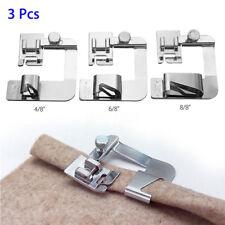 3 pzas máquina de coser pie Hemmer Prensatelas Dobladillo Enrollado Pies
