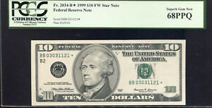 1999 $10 FW Federal Reserve **STAR** Note New York BB03031121* PCGS 68PPQ