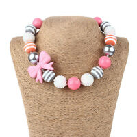 Girls Lovely Pink Bowknot Acrylic Beads Chunky Necklace Christmas/Birthday Gift