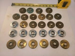 A lot of 28 Vintage Brass Backplates Some Chrome for Bathrooms and Locks