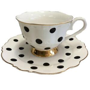 Blue Cadeaux Cup & Saucer White/Black Spots