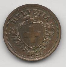 SWITZERLAND,  1921-B,  1 RAPPEN,  COPPER,  EXTRA FINE,  KM#3.2