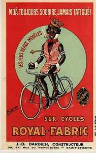 Riproduzione Cartolina Pubblicitaria 1930 Sur Cycles Royal-Fabric