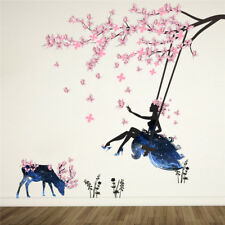 Pink Butterfly Wall Stickers Swing Girl Decals Tree Flowers Deer Wall Sticker