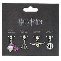 New Official Genuine Harry Potter Silver Plated Slider Charm Set-Great Gift